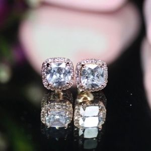 14kt Rose Gold Dipped Halo White Topaz Earrings
